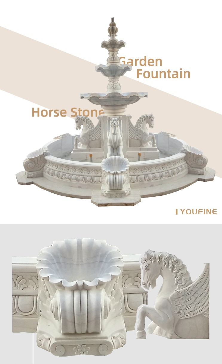 LARGE OUTDOOR PURE WHITE TIERED HORSE WATER FOUNTAINS FOR HOTEL