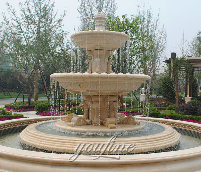 Outdoor beige marble tiered waterfall fountains on sale