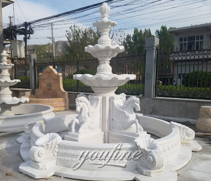 Outdoor pure white tiered water horse fountains for sale