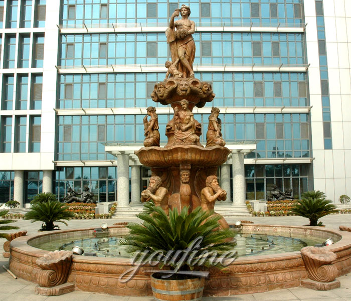 Outdoor beige marble tiered water statuary fountains with nude woman and Neptunian for sale