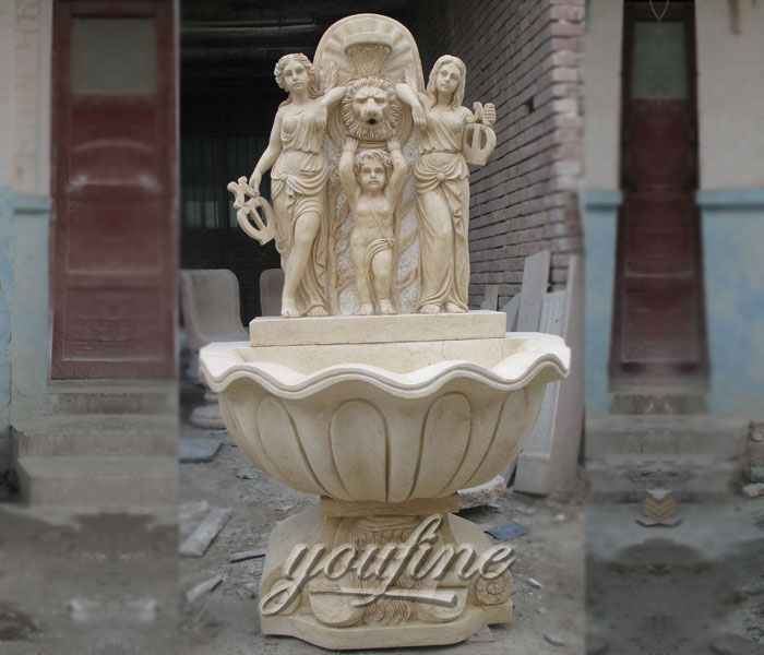 Outdoor small beige marble garden lion head wall fountains with little girl and angel decor for sale