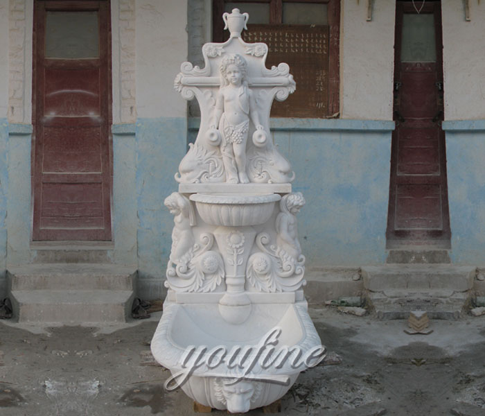 Outdoor pure white marble garden wall fountains with angel decor for sale