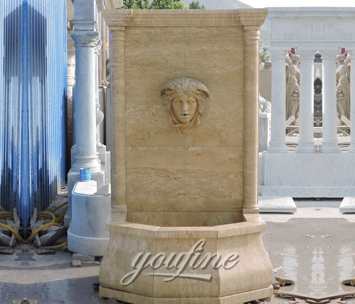 Outdoor antique marble garden wall fountains with woman face decor for saleOutdoor antique marble garden wall fountains with woman face decor for sale