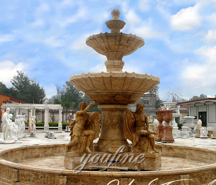 Factory price natural antique marble statuary tiered water fountains with sitting figures for sale