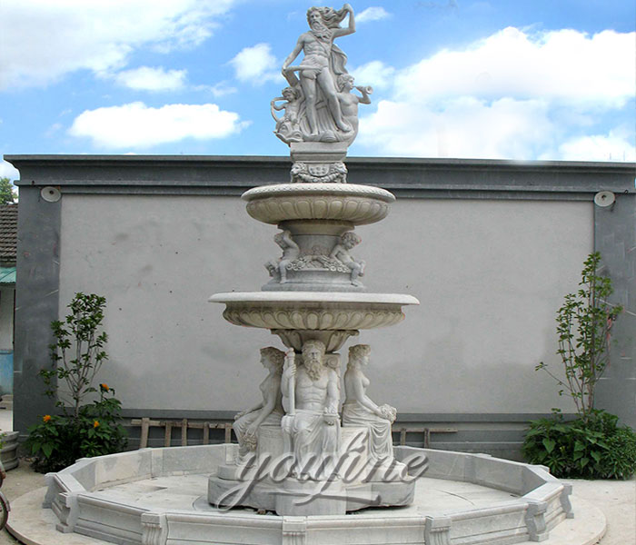 Factory price natural pure white marble statuary tiered water fountains with sitting figures and angles for sale