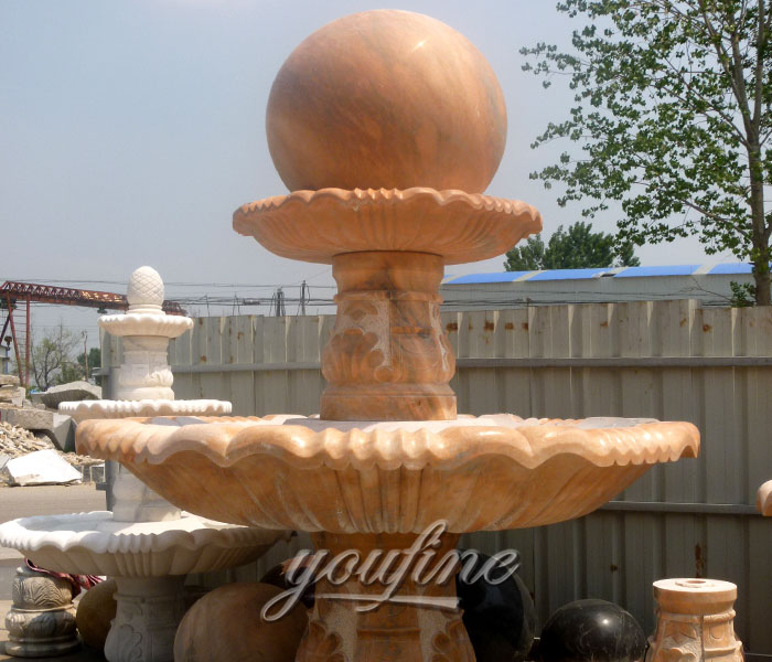 Outdoor antique stone fengshui ball water fountains design for home decor