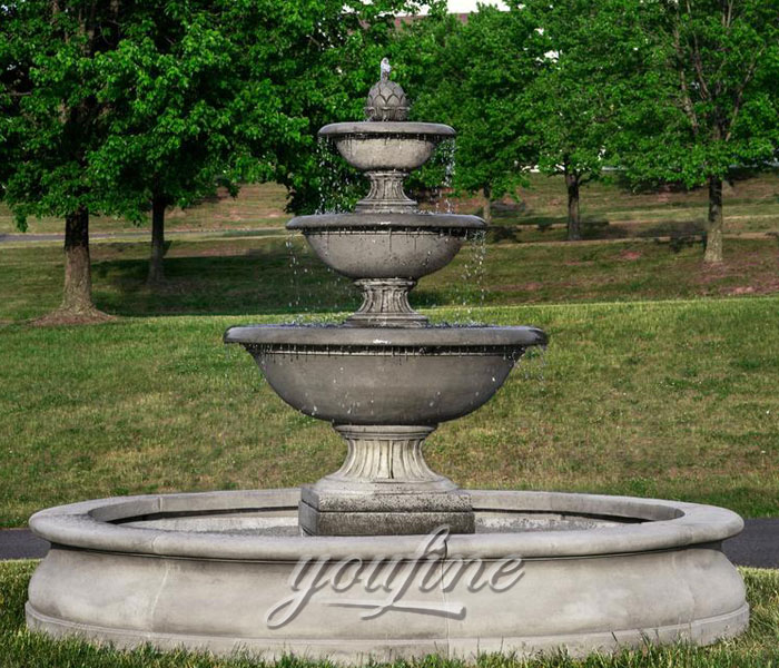 Outdoor gray marble tiered water fountains new design for sale
