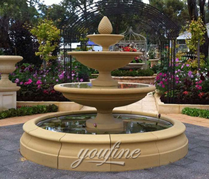 Outdoor carved antique marble three tiers water garden fountains with pool for sale