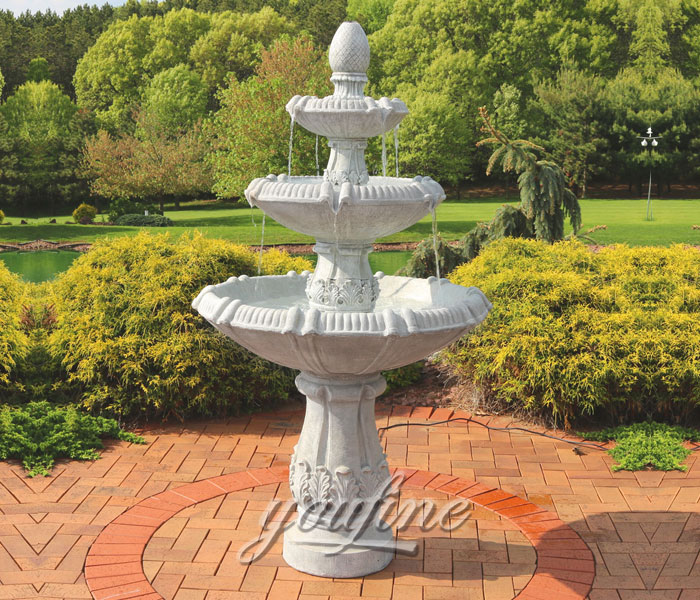Outdoor carved white marble three tiers water small garden fountains for sale