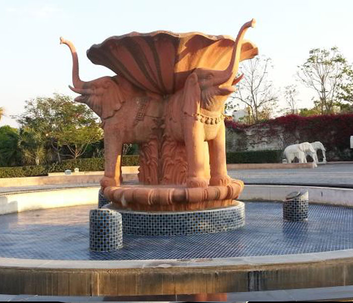 Outdoor special natural sunset marble stone water garden double elephant fountain for sale