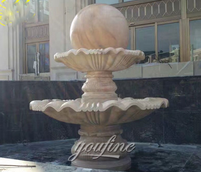 Outdoor two tiers casting stone rotating ball water garden fountains with pool for sale