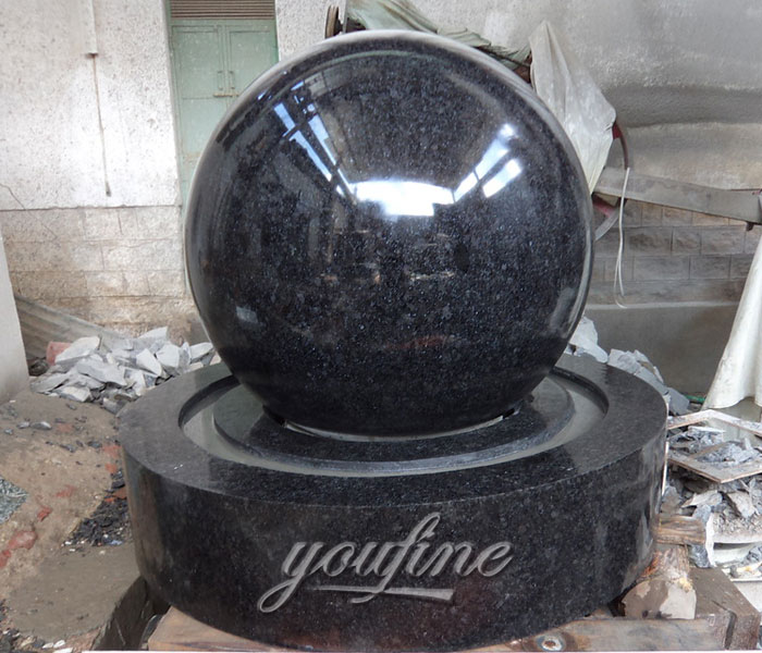 Outdoor water park casting black granite stone rotating ball fountains for sale