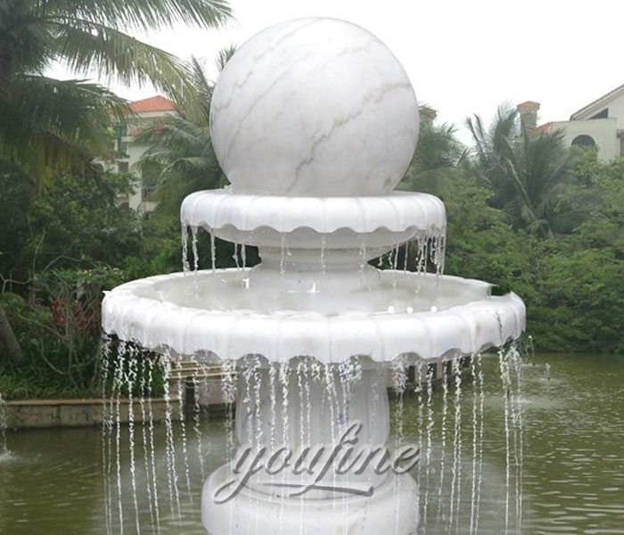 Buying pure white marble rotating ball tiered water fountains for garden