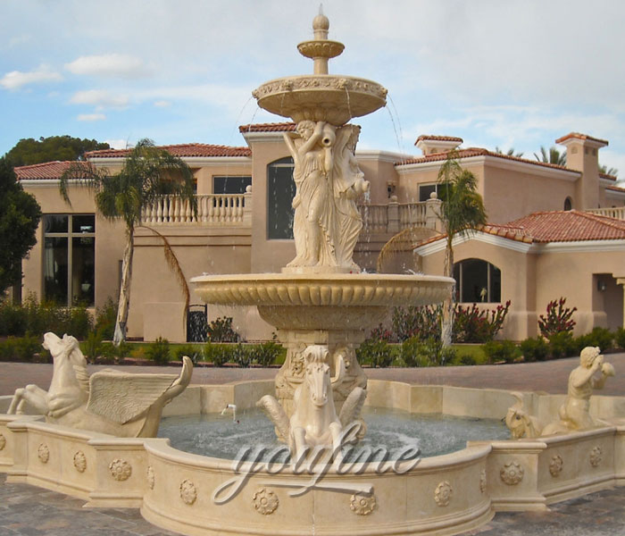 Large outdoor beige marble water stone horse fountain with female statue for sale