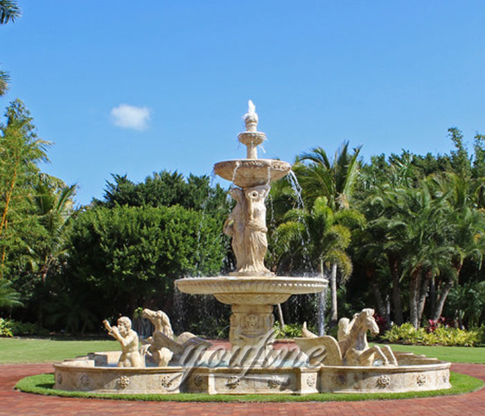 Large outdoor beige marble waterfall stone horse fountain with woman statue decoration for sale