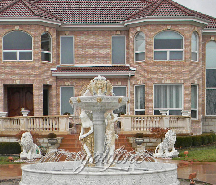 Large outdoor grand water marble lion fountain with woman statue