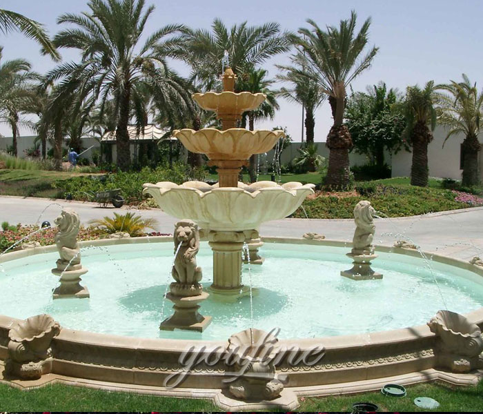 Outdoor three tiers water marble stone fountain with lion statue for sale
