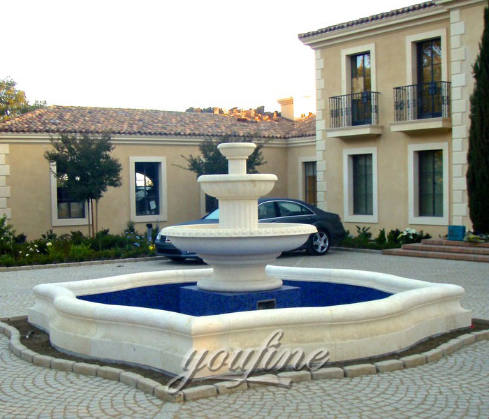 Outdoor three tiers natural beige marble yard fountain for sale