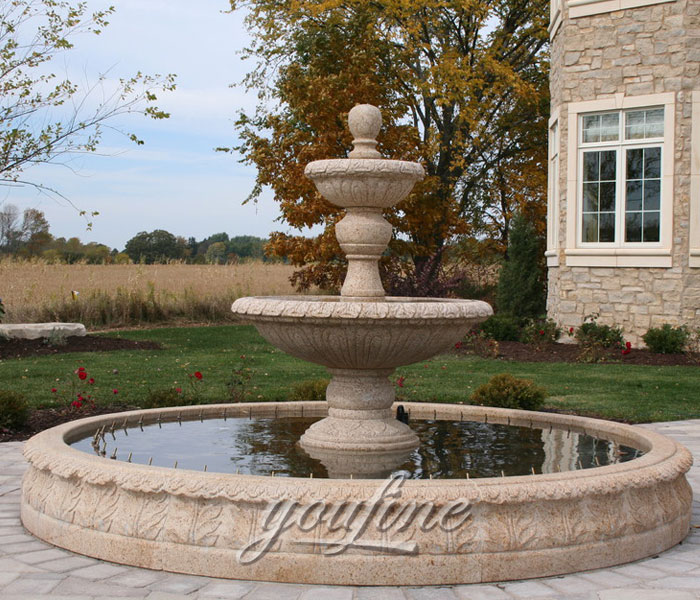 Yard tiered natural antique marble water fountain indoor for sale