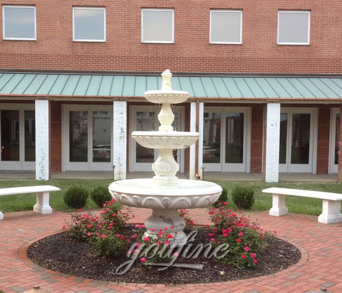 Small tiered white marble water fountain for yard on sale