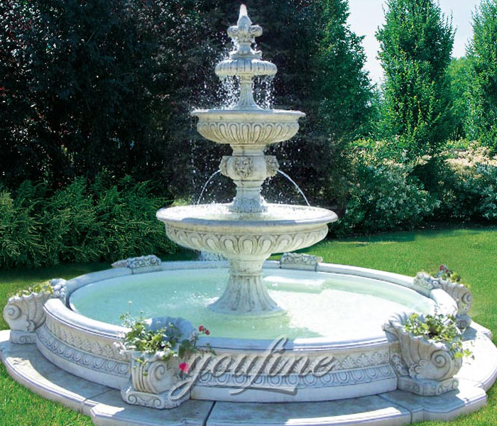 Outdoor antique small marble yard water fountain for sale