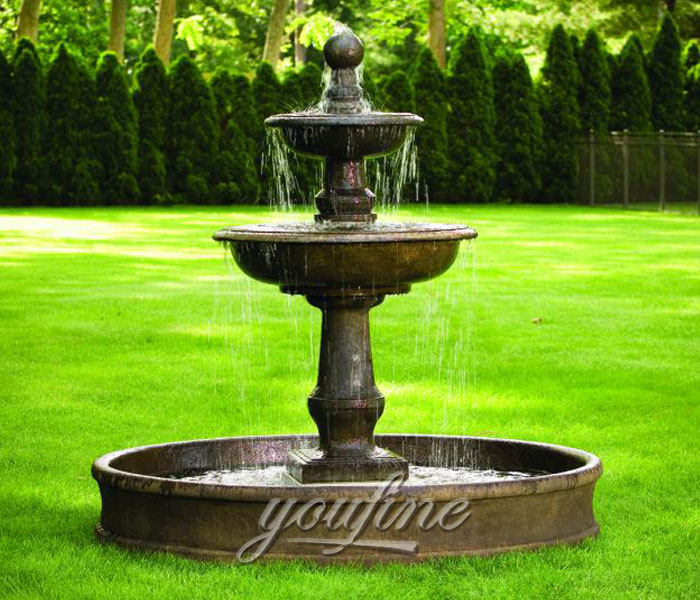 Outdoor antique small casting black marble yard water fountain for sale