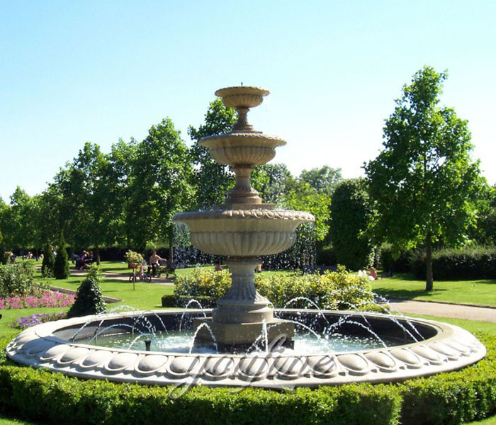 Outdoor antique stone marble park water tiered fountain for sale