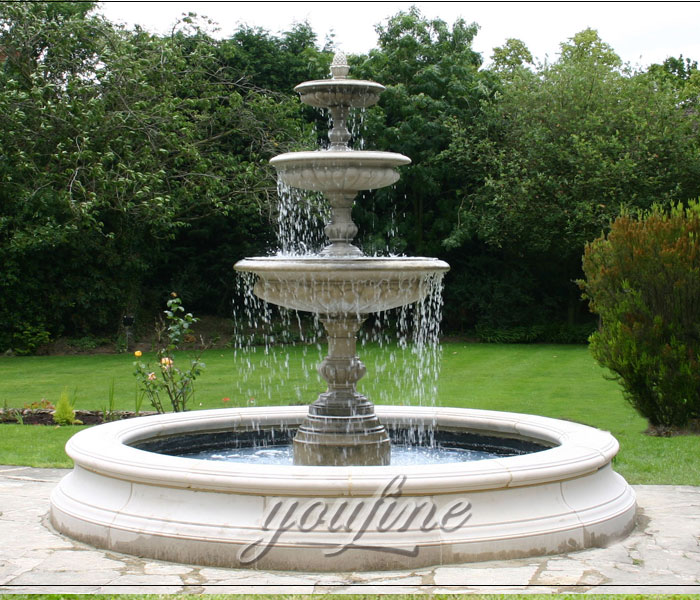 Outdoor classical 3 tiers antique marble water fountain with pool for bank on sale