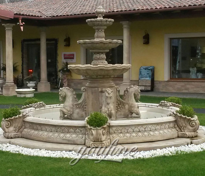 Outdoor grand Tiered antique marble stone water fountain with horse statue for sale