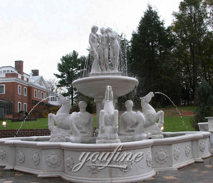 Outdoor grand Tiered luxury marble stone water horse fountain with nude woman statue for sale
