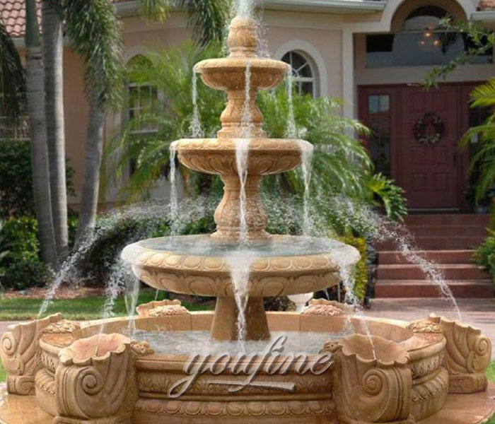 Outdoor classical 3 tiers beige marble stone water fountain for bank on sale
