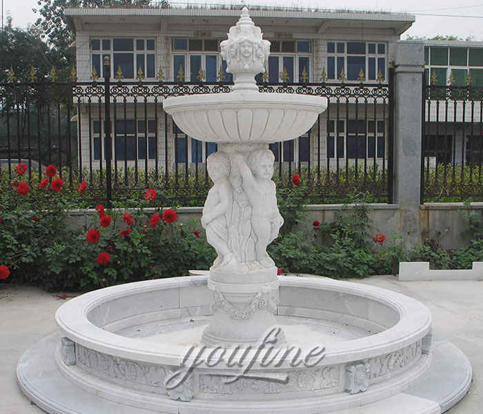 Hot selling tiered marble water fountain with cherub statue for home decor