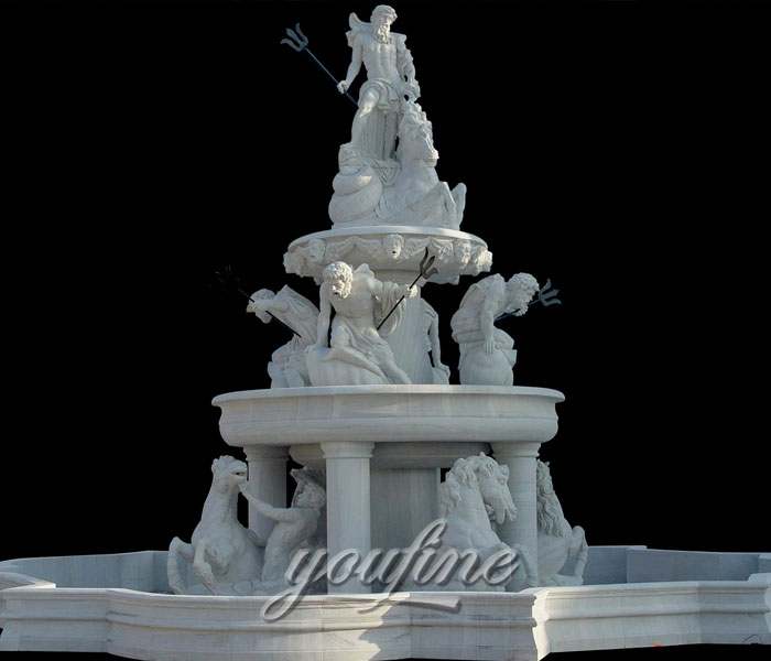 Outdoor pure white tiered water horse fountains with Neptunian statue design on sale