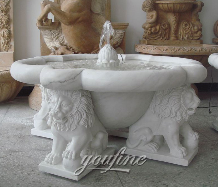 Outdoor small classical lion water garden fountains design for sale
