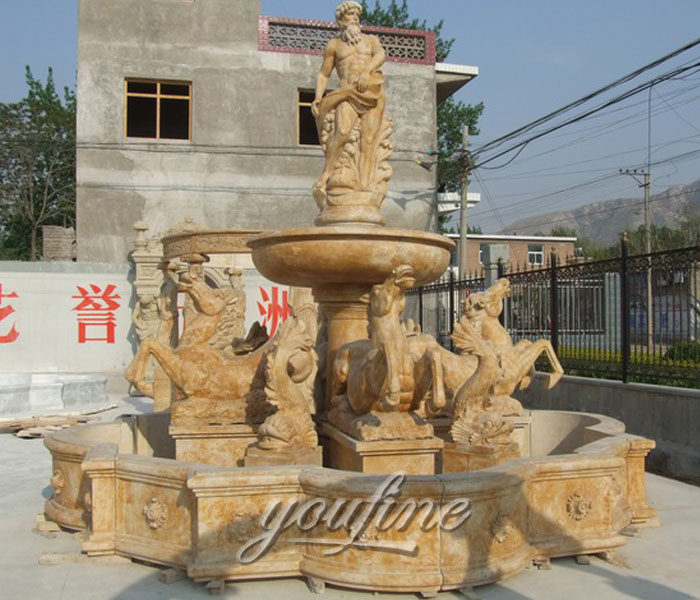 Outdoor beige marble tiered waterfall statuary fountains with horse and man statue for sale