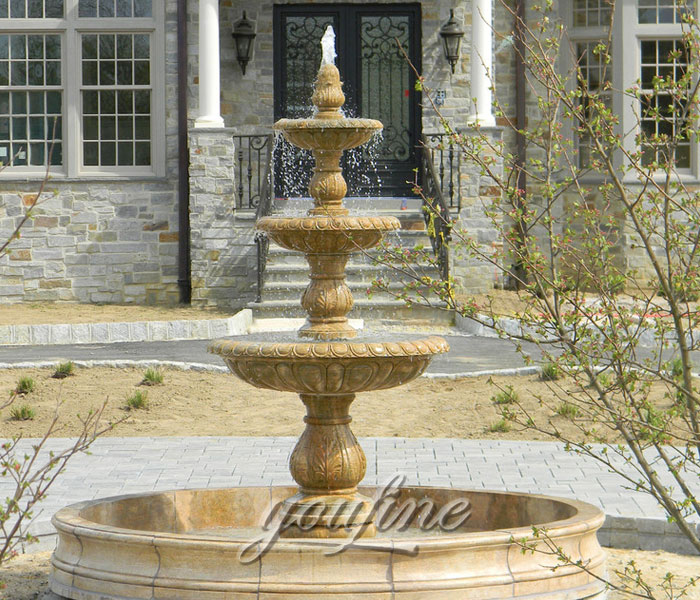 Classical 3 tier antique beige marble stone water fountain for garden