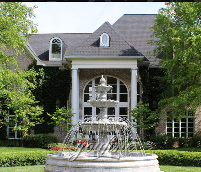 Garden decorated stone three tier water fountain outdoor for sale