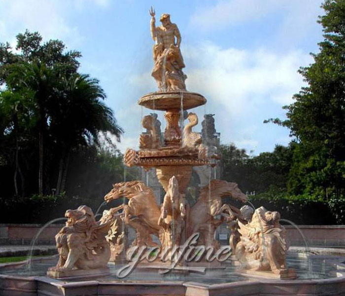 Large outdoor horse&lion sunset marble waterfall fountain with Neptunian statue for sale