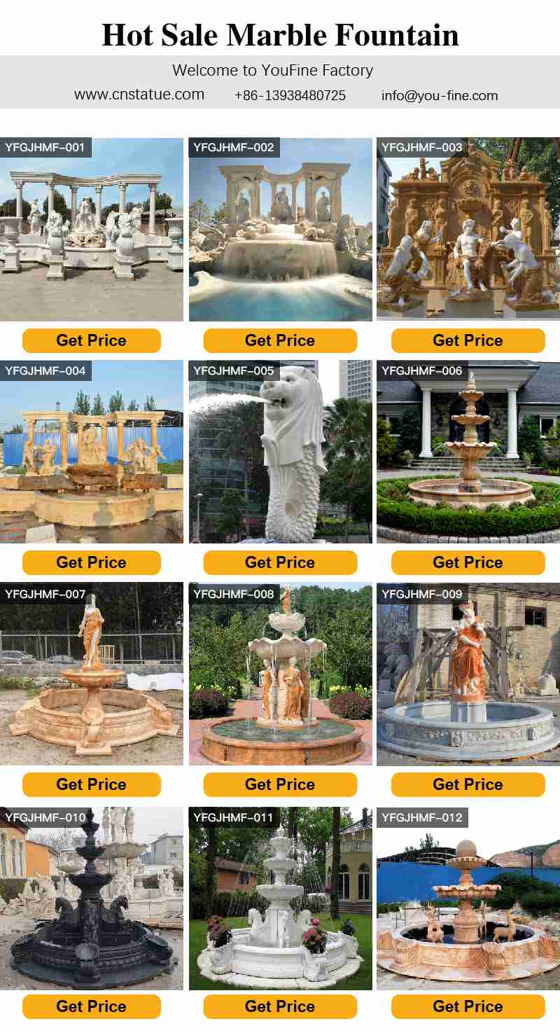 Large outdoor tiered marble water fountain with cherub statue for hotel decor