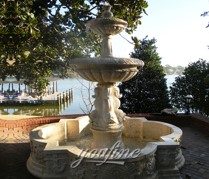 Outdoor antique marble stone backyard water three tier fountain for sale