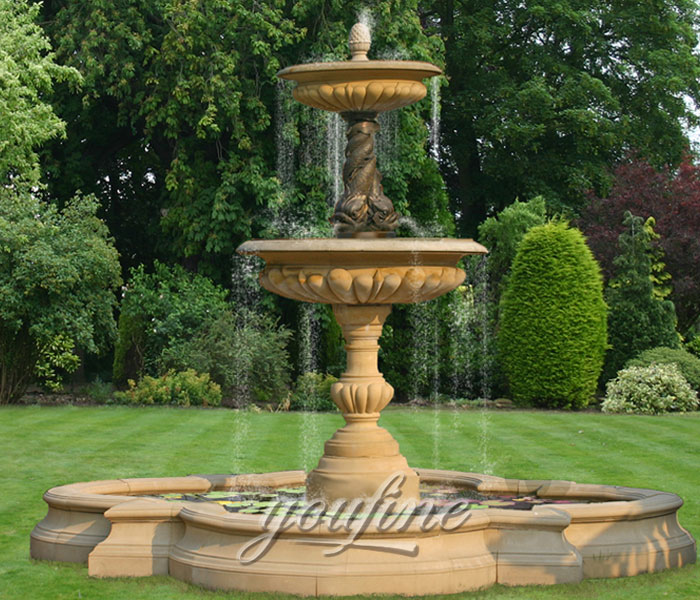 Outdoor stone 3 tiers waterfall stone backyard fountain for sale