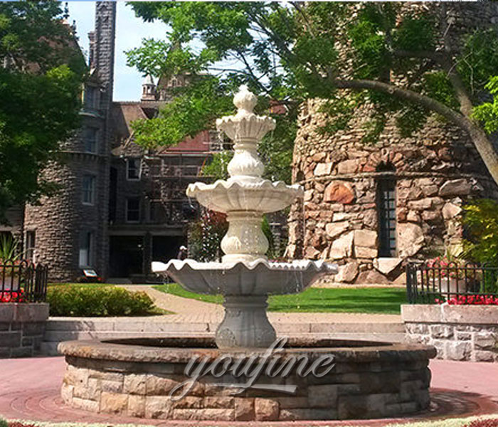 outdoor classical 3 tier water garden stone marble fountain for sale