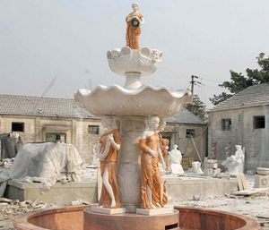 OUTDOOR DECORATIVE FOUNTAIN MARBLE LAYERED FOUNTAIN WITH FIGURE STATUES FOR SALE