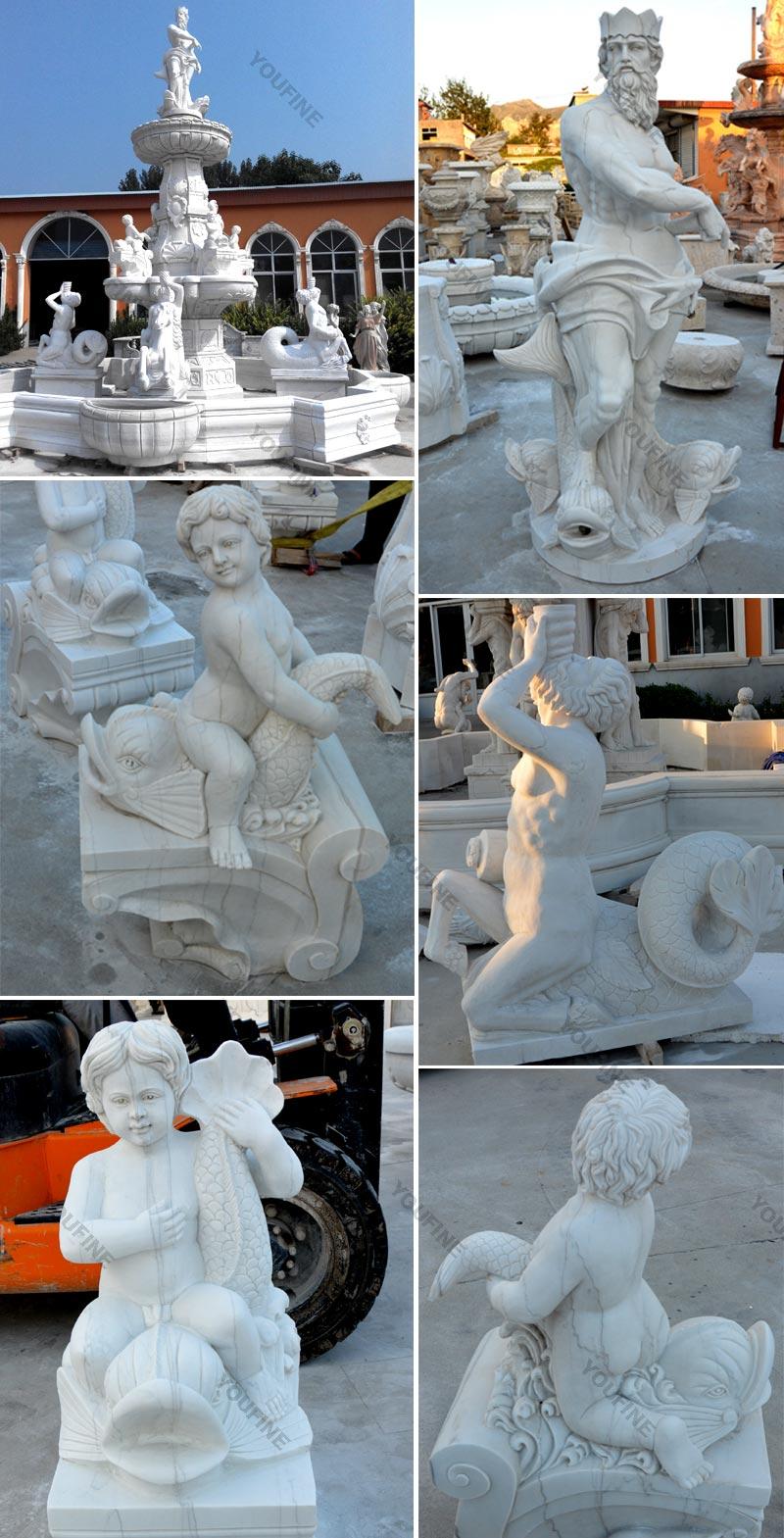 Large White Marble Sea God Fountain