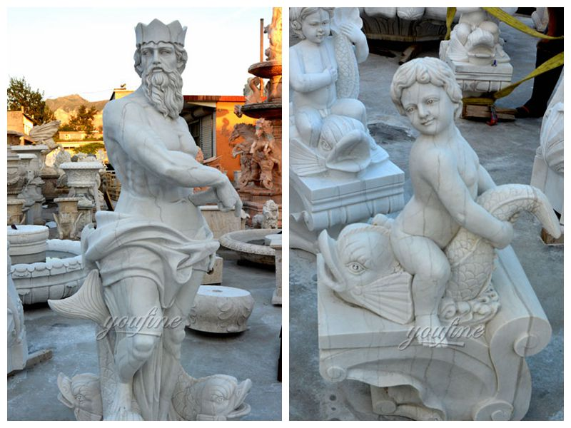 Outdoor decoration large white marble Neptune fountain decoration (3)