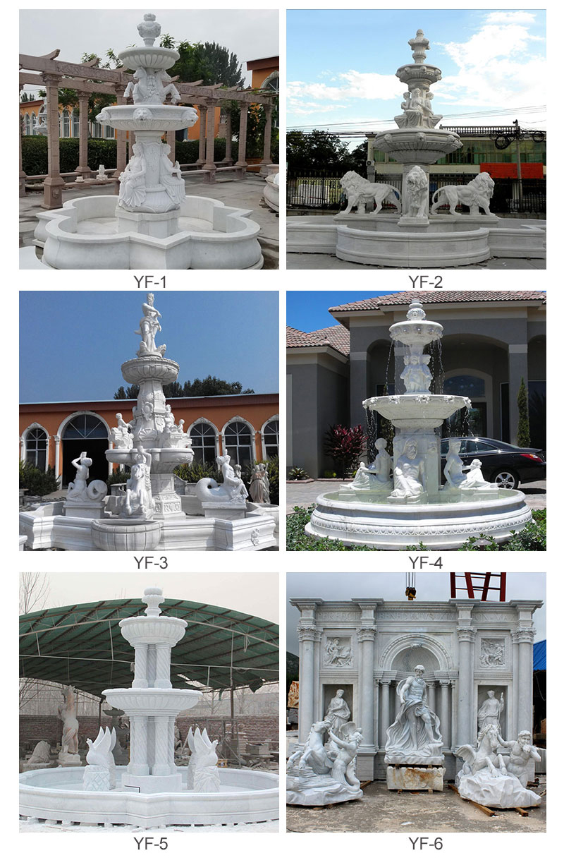 Outdoor decoration large white marble Neptune fountain decoration (9)