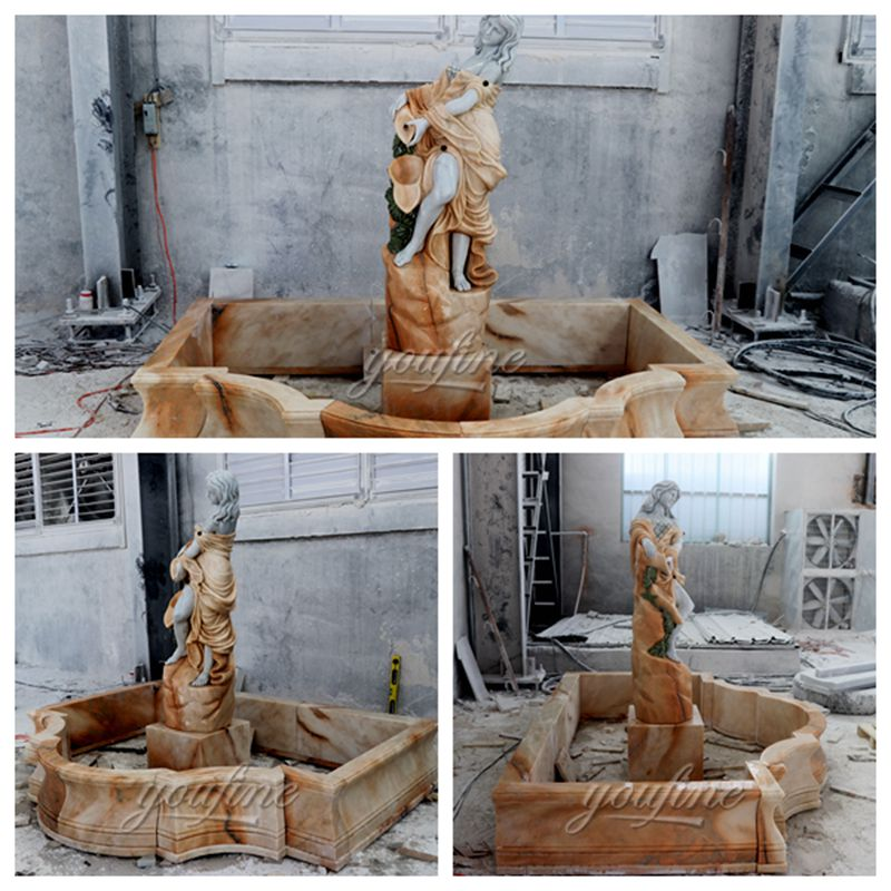 Outdoor decoration yellow marble character ladies fountain decoration (2)