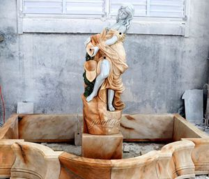 Hand-carved Gardens Decorate Marble Fountain with Ladies for Sale