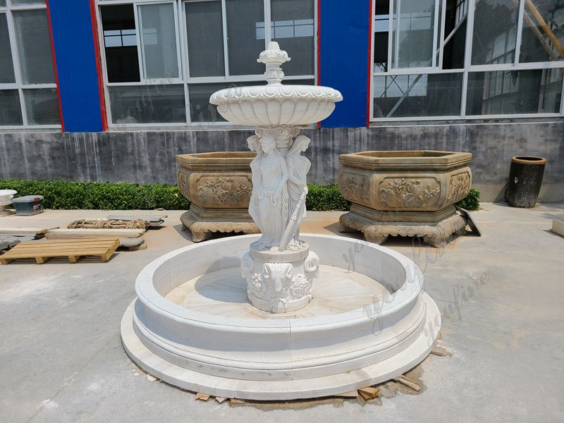Beautiful Natural Stone Carved Marble Lady Water Fountain Garden Decoration for Sale Details