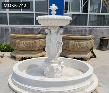 Beautiful Natural Stone Carved Marble Lady Water Fountain Garden Decoration for Sale MOKK-742